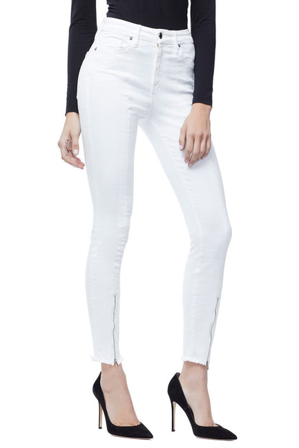 Good American Super High Waisted Front Zip White001 Jeans