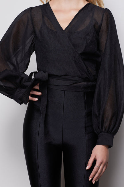 THE ORGANZA WRAP TOP | BLACK001