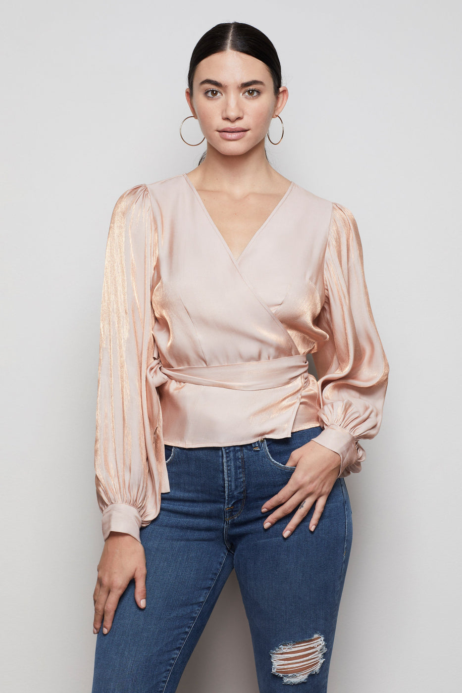 THE METALLIC MYSTIQUE WRAP TOP | ROSE GOLD001