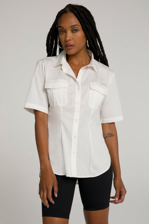CINCHED TUNIC SHIRT | WHITE001