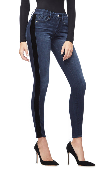 Good American Super High Waisted Velvet Tuxedo Blue210 Jeans