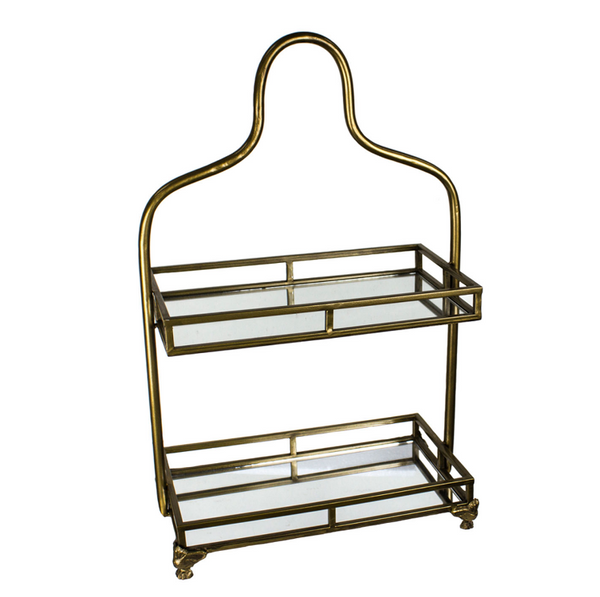 2 Tiered Gold Mirrored Vanity Tray