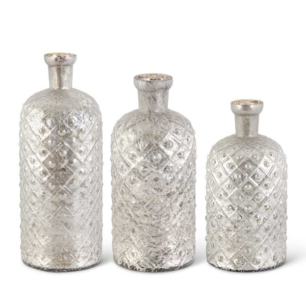 Criss Cross Mercury Glass Vases