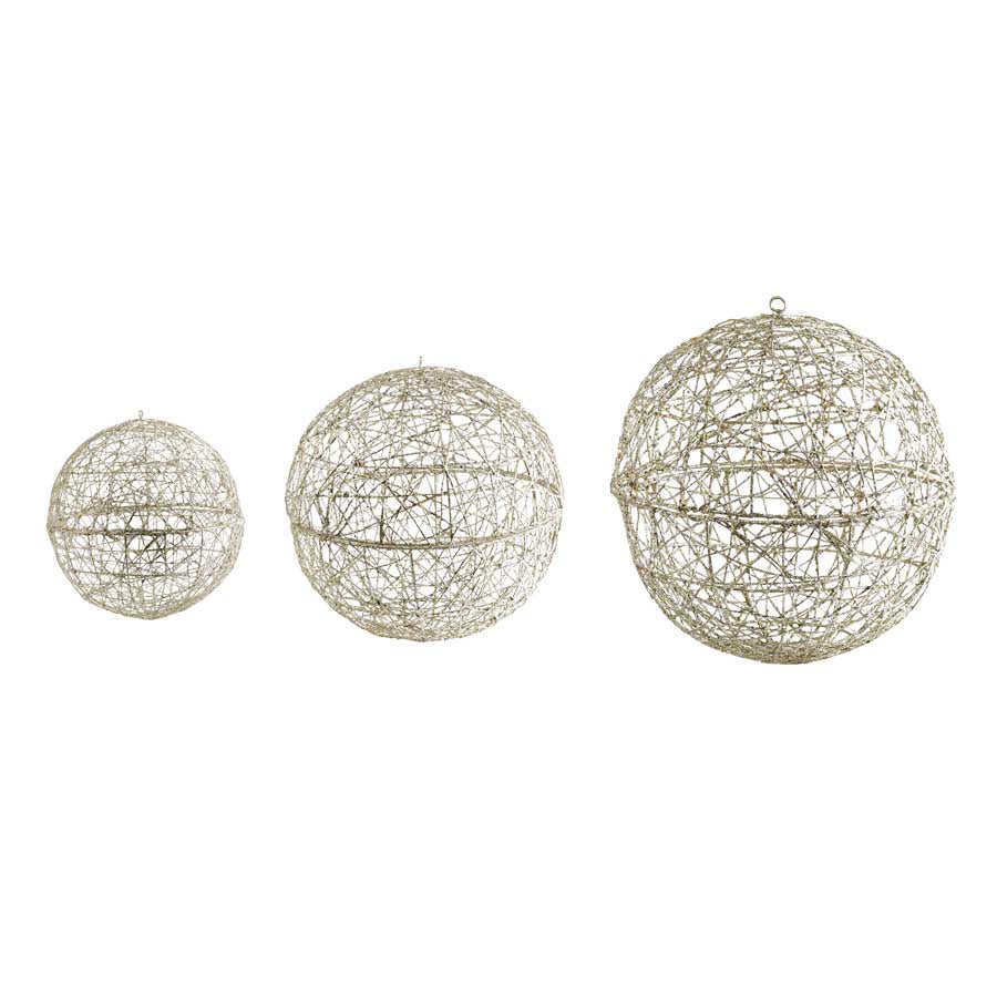Champagne Glitter Hanging Wire Balls