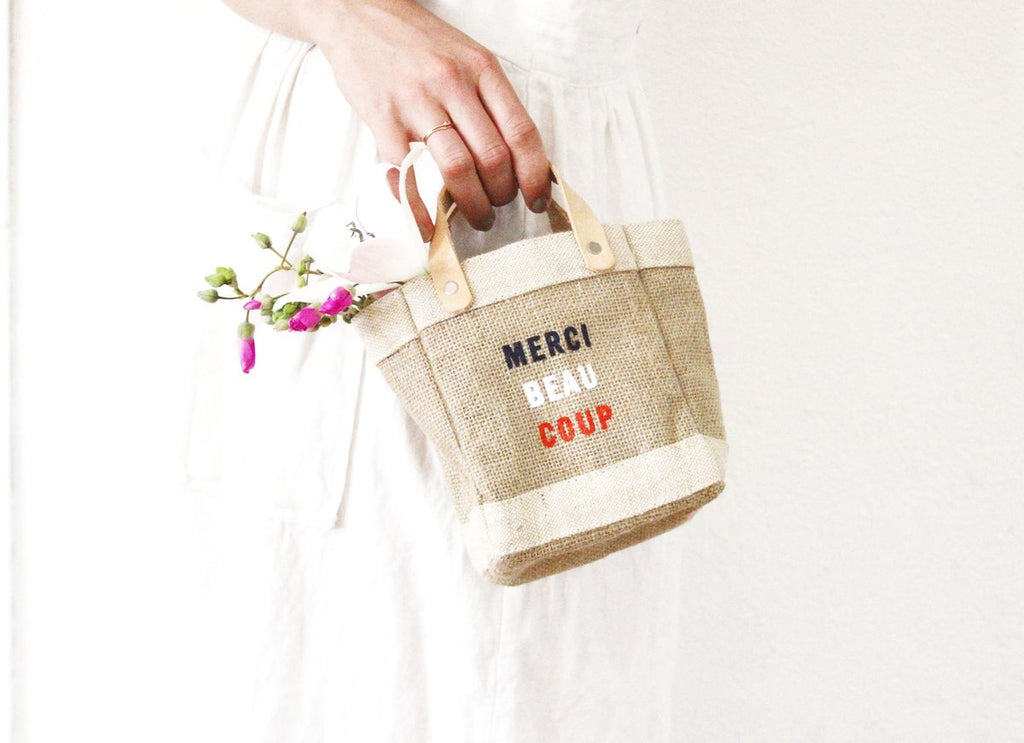 APOLIS, ACCESSORIES, APOLIS | Mini Market Bag Merci Beaucoup by Apolis and Clare V - Edgar Martha's Vineyard