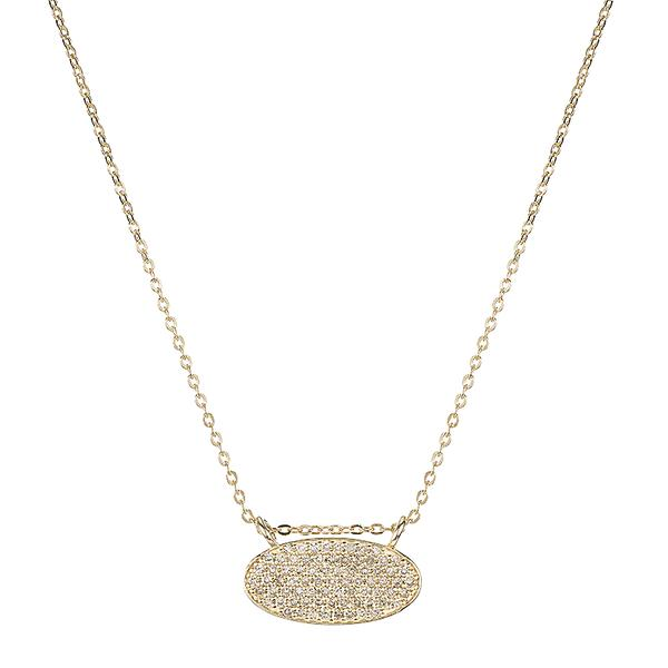 ASHLEY SCHENKEIN, JEWELRY, ASHLEY SCHENKEIN| Diamond Pave Oval Necklace - Edgar Martha's Vineyard