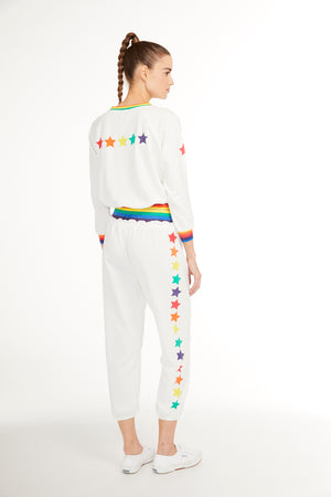 SUNDAYS NYC, TOP, SUNDAYS NYC| Camellia Top 3/4 Raglan Sleeve with Rainbow Cuff - Edgar Martha's Vineyard