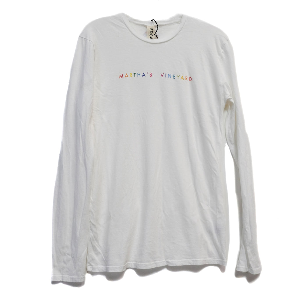 EDGAR mv, TOP, EDGARmv | Organic Cotton Relaxed Long Sleeve Gradient MV Logo T-Shirt - Edgar Martha's Vineyard