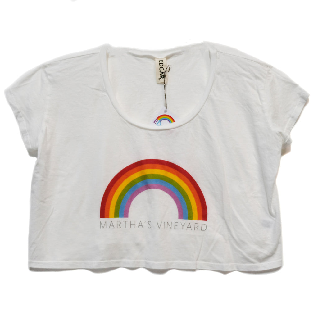EDGAR mv, TOP, EDGARmv | Rainbow Printed MV logo Organic Cotton Cropped Tee - Edgar Martha's Vineyard