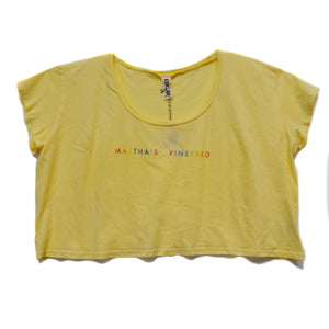 EDGAR mv, TOP, EDGARmv | Gradient Printed MV logo Organic Cotton Cropped Tee - Edgar Martha's Vineyard