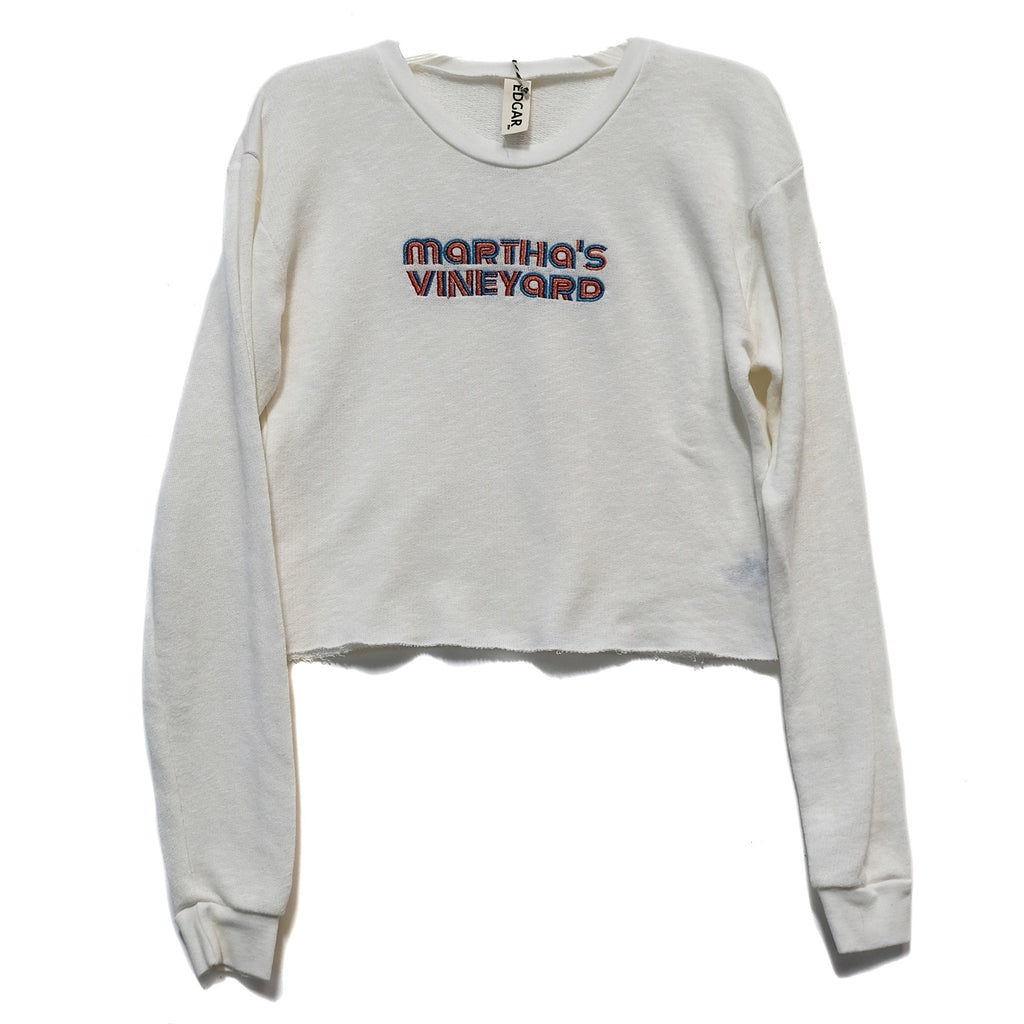 EDGAR mv, TOP, EDGARmv |Recycled Plastic and Organic Cotton Embroidered MV Logo Sweatshirt - Edgar Martha's Vineyard