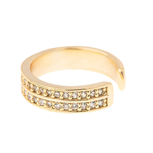 SHASHI, JEWELRY, SHASHI | Double Pave Ear Cuff Yellow Gold - Edgar Martha's Vineyard