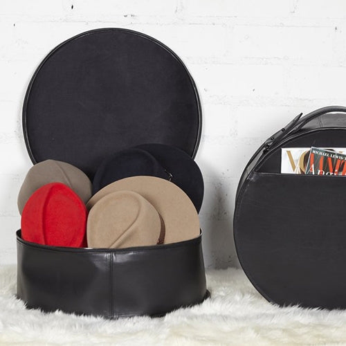 GLADYS TAMEZ MILLINERY, ACCESSORIES, GTM | Italian Leather Hat Travelor - Edgar Martha's Vineyard