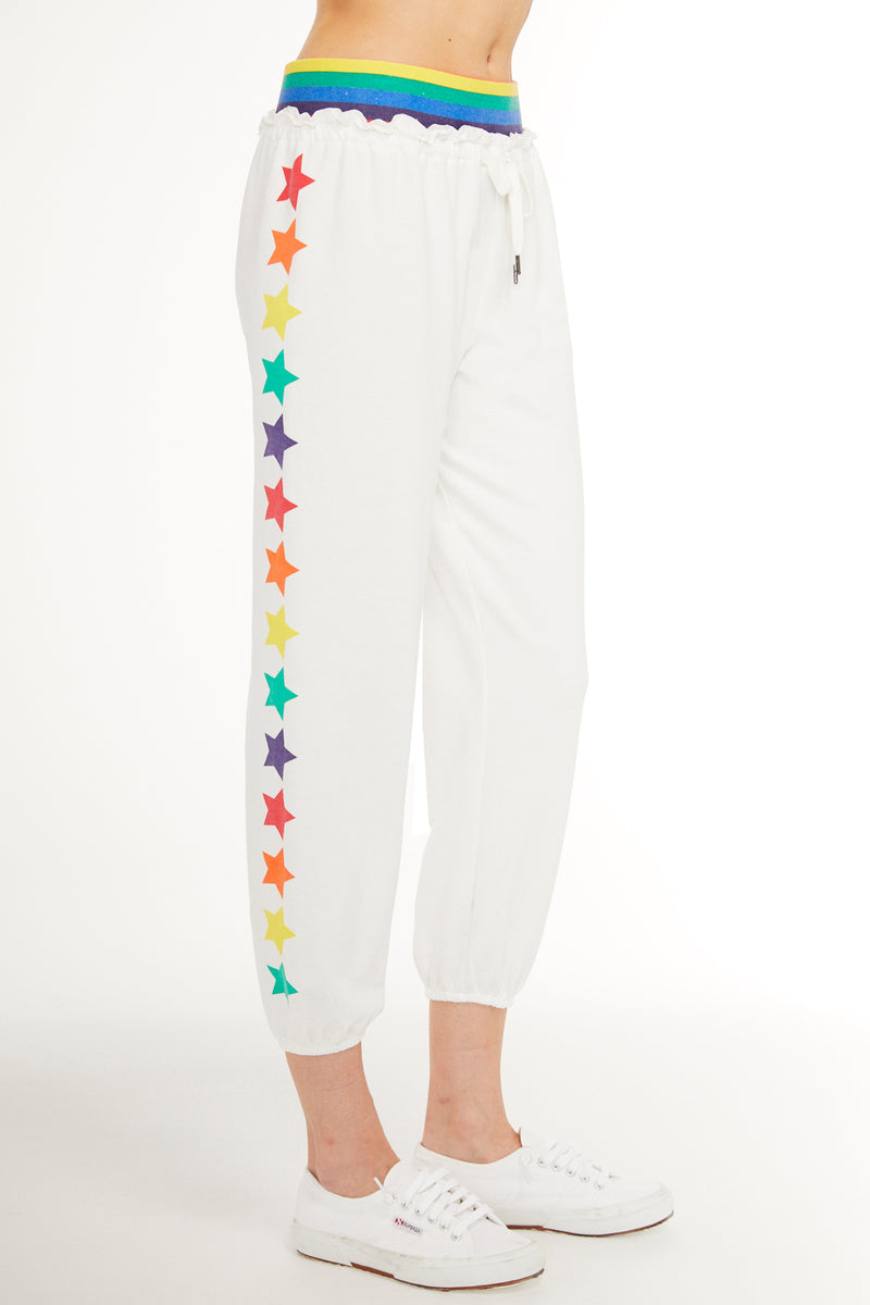 SUNDAYS NYC, BOTTOMS, SUNDAYS NYC| Hisbiscus Pant Crop Jogger with Rainbow Waistband and Printed Stars - Edgar Martha's Vineyard
