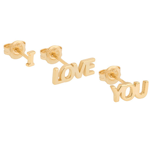 SHASHI, JEWELRY, SHASHI | I Love You Stud Yellow Gold - Edgar Martha's Vineyard