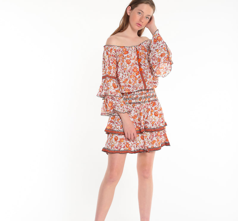POUPETTE ST BARTH, DRESS, POUPETTE ST BARTH | Mini Dress Ola Off Shoulder - Edgar Martha's Vineyard