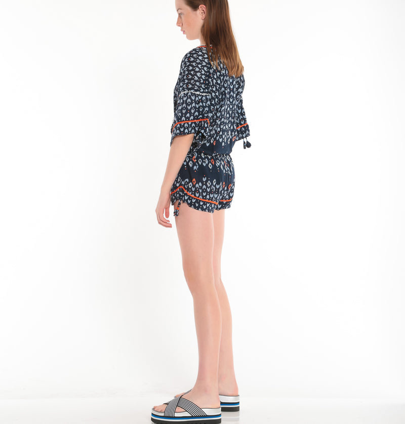 POUPETTE ST BARTH, BOTTOMS, POUPETTE ST BARTH | Short Jumpsuit Mara Lace Trimmed - Edgar Martha's Vineyard