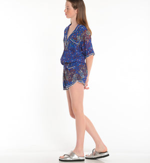 POUPETTE ST BARTH, BOTTOMS, POUPETTE ST BARTH | Short Jumpsuit Foe Lace Trimmed - Edgar Martha's Vineyard