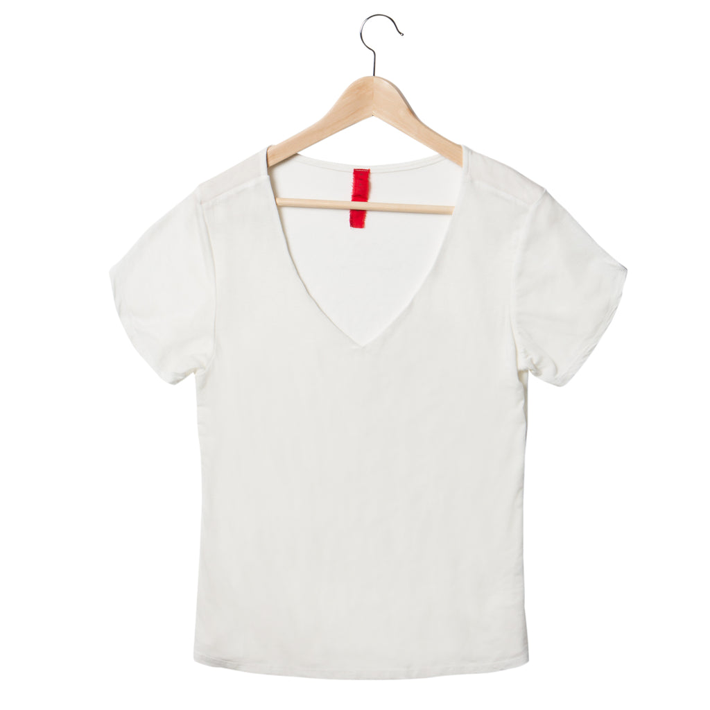 EDGAR mv, TOP, EDGARmv | Eucalyptus and Organic Cotton Double Layer V-Neck Tee - Edgar Martha's Vineyard