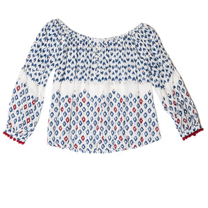 POUPETTE ST BARTH, TOP, POUPETTE ST BARTH | Top Blouse Mara Pompom Trimmed - Edgar Martha's Vineyard