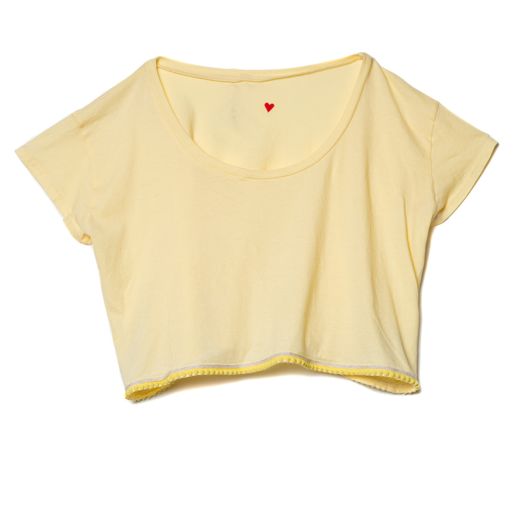 EDGAR mv, TOP, EDGARmv | Pompom Trim Organic Cotton Cropped Box Tee - Edgar Martha's Vineyard
