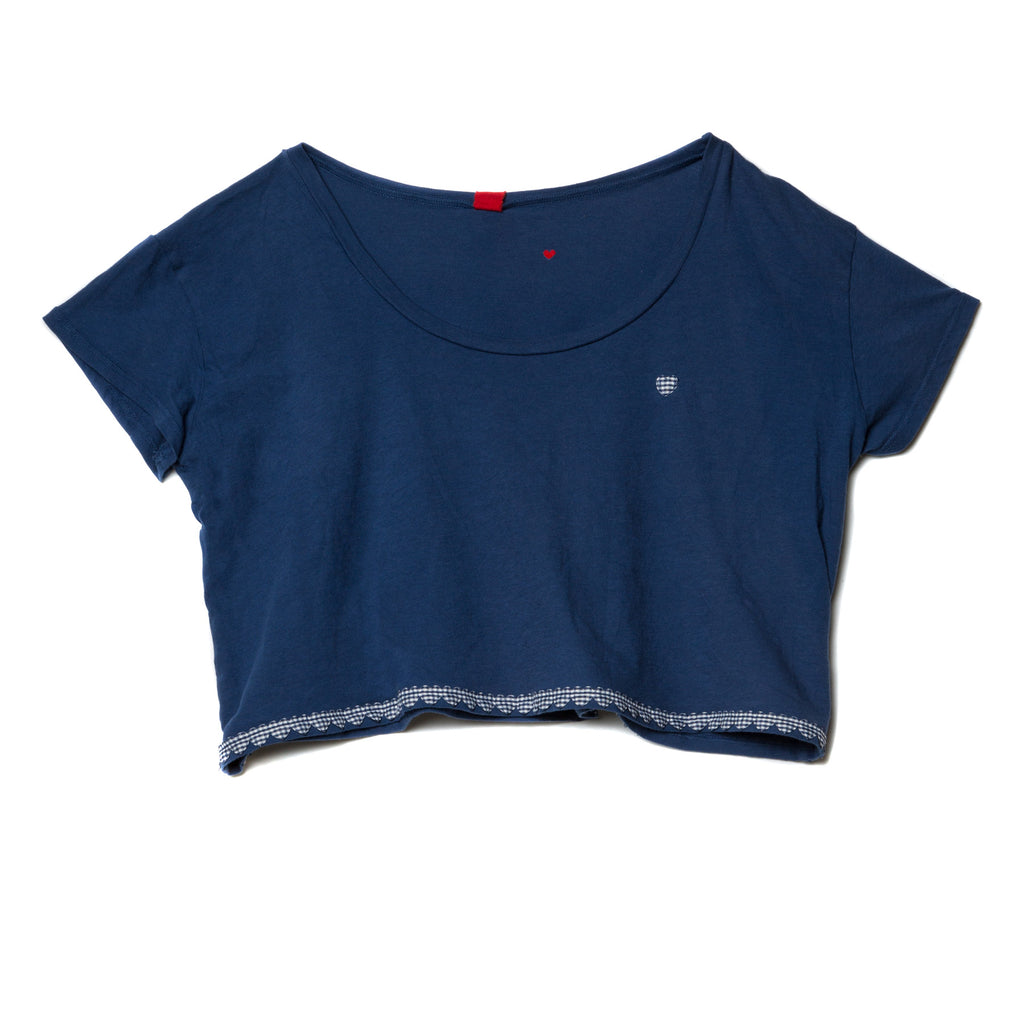 EDGAR mv, TOP, EDGARmv |Heart Trim Organic Cotton Cropped Box Tee - Edgar Martha's Vineyard