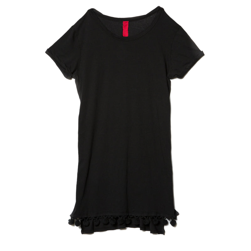 EDGAR mv, DRESS, EDGARmv | Organic Cotton Beach Tee Cover-up with Pockets with Black Pompoms - Edgar Martha's Vineyard