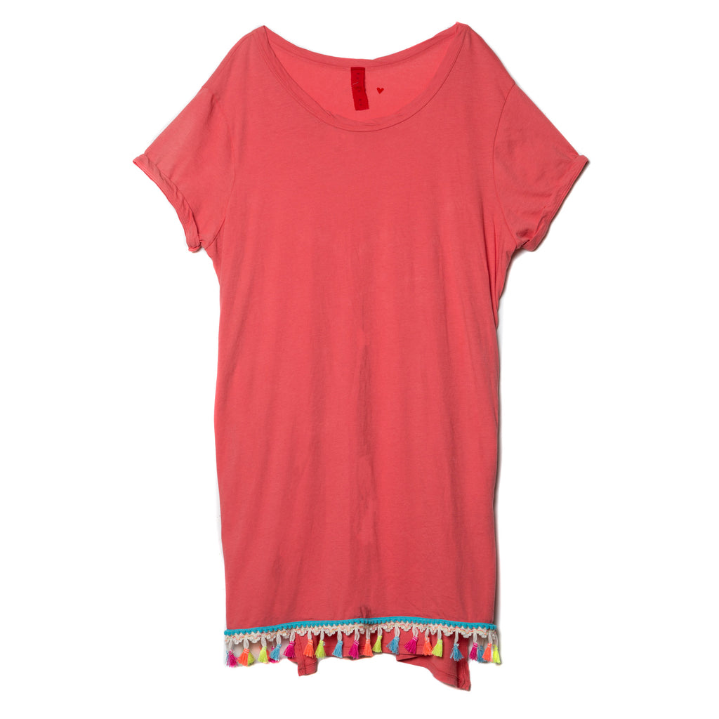 EDGAR mv, TOP, EDGARmv | Organic Cotton Beach Tee Cover-up with Pockets with multi color tassel - Edgar Martha's Vineyard