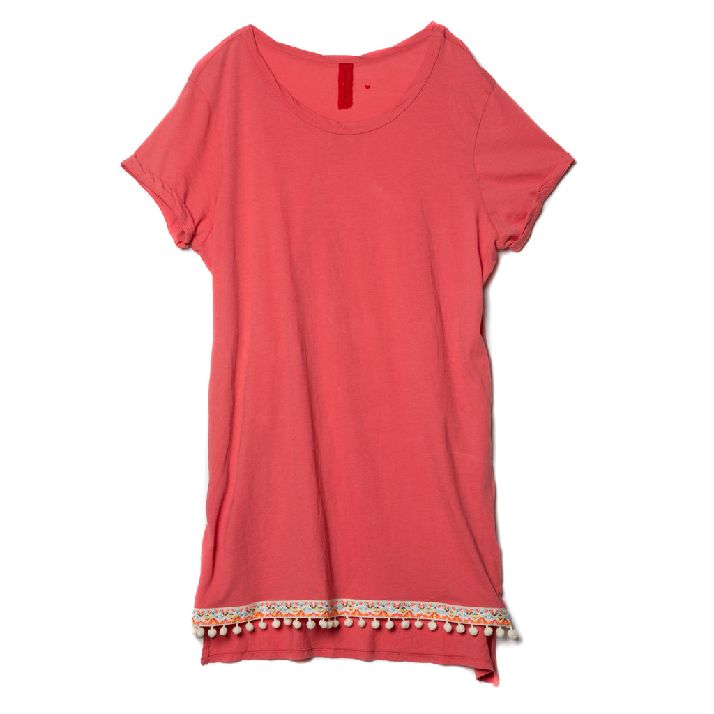 EDGAR mv, DRESS, EDGARmv | Organic Cotton Beach Tee Cover-up with Pockets with embroidery and cream pompoms - Edgar Martha's Vineyard