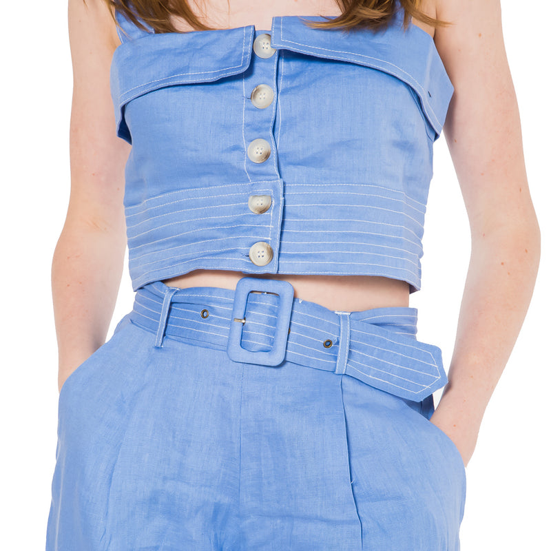 SUBOO, BOTTOMS, SUBOO | Azure Belted Waisted Shorts - Edgar Martha's Vineyard