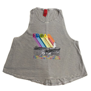 EDGAR mv, TOP, EDGARmv | Organic Cotton Stripe Swing Tank with Cape Poge LightHouse Print - Edgar Martha's Vineyard