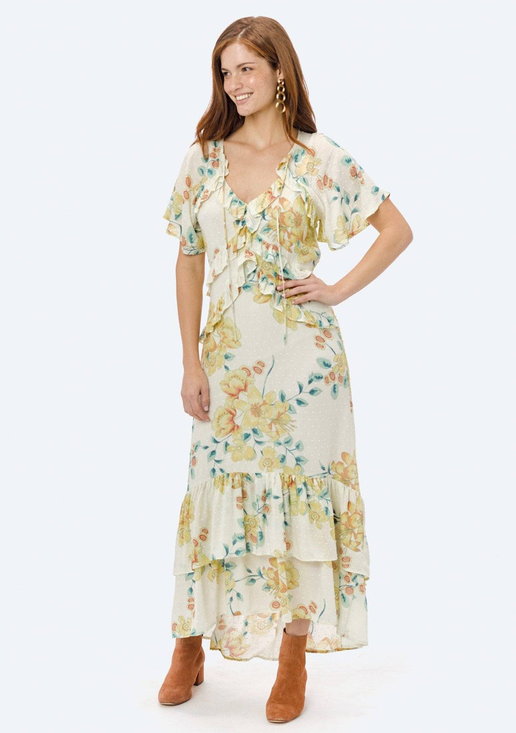 LOVESTITCH, DRESS, LOVESTITCH| Printed Flutter Sleeve Maxi Dress with Ruffle Detail - Edgar Martha's Vineyard