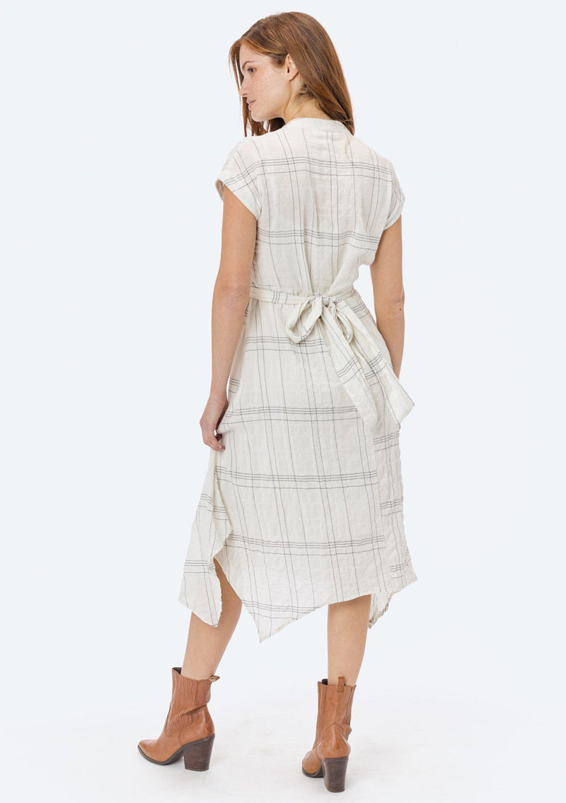 LOVESTITCH, DRESS, LOVESTITCH| Yarn Dye Plaid Sleeveless Wrap Tie Handkerchief Dress - Edgar Martha's Vineyard