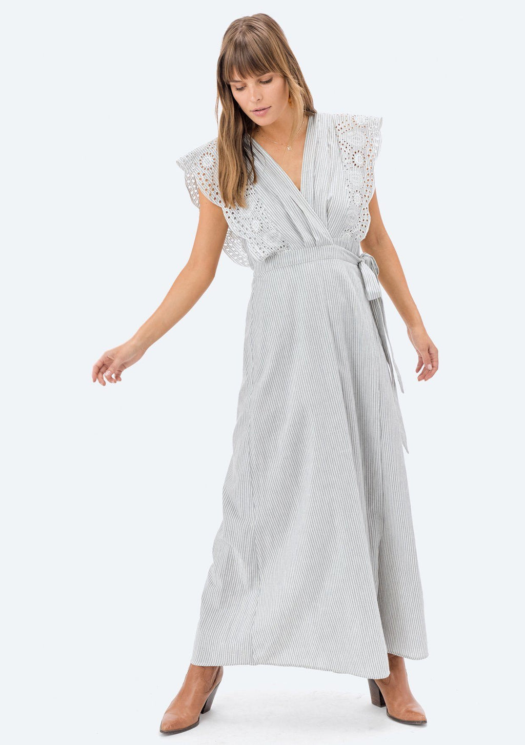 LOVESTITCH, DRESS, LOVESTITCH| Yarn Dye Striped Sleeveless Wrap Dress with Embroidery - Edgar Martha's Vineyard