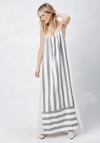 LOVESTITCH, DRESS, LOVESTITCH| Spaghetti Strap Cross Back Maxi Dress with Striped Contrast Panel - Edgar Martha's Vineyard