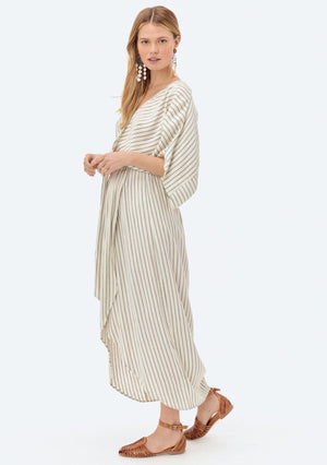 LOVESTITCH, DRESS, LOVESTITCH| Yarn Dye Stripe Belted Maxi Dress - Edgar Martha's Vineyard