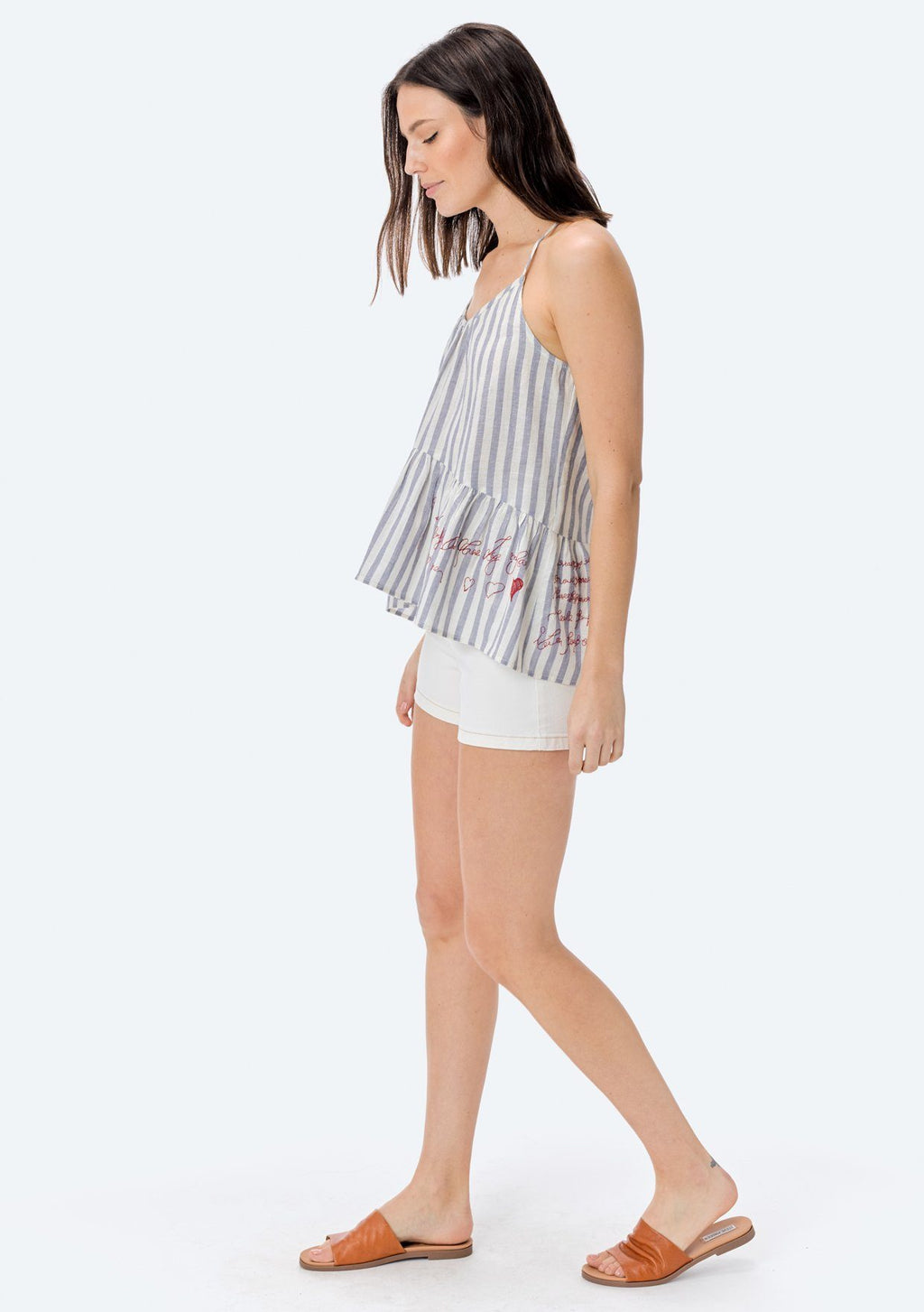 LOVESTITCH, TOP, LOVESTITCH| Yarn Dye Stripe Tie Back Tank Top with Embroidery and Ruffle Hem - Edgar Martha's Vineyard