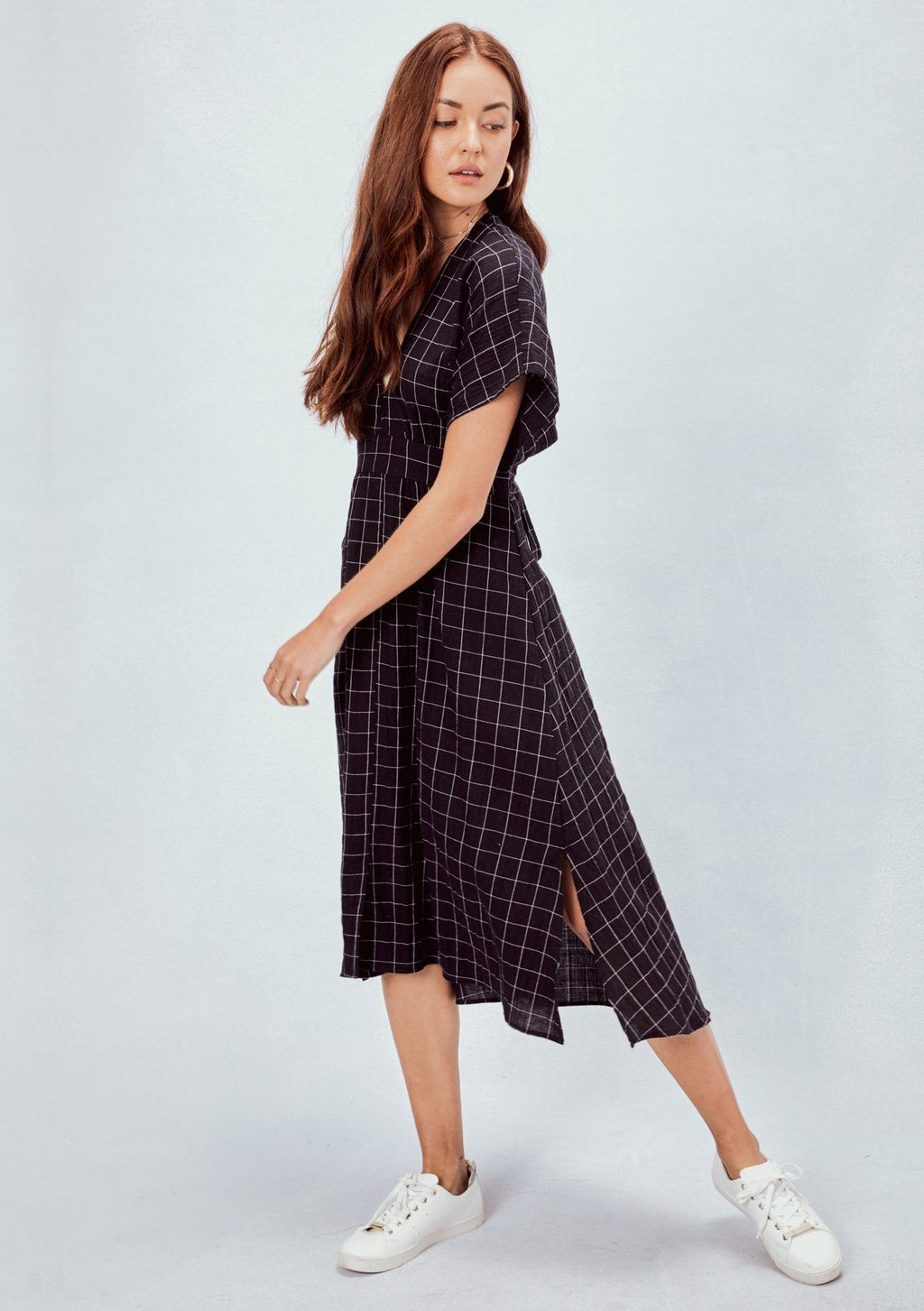LOVESTITCH, DRESS, LOVESTITCH| Yarn Dye Windowpane Tie Back Midi Dress - Edgar Martha's Vineyard