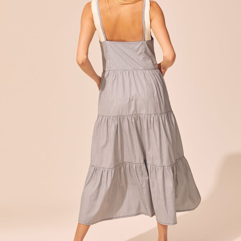 SOLID & STRIPED, DRESS, SOLID & STRIPED | Tiered Poplin Dress w Tie Straps - Edgar Martha's Vineyard