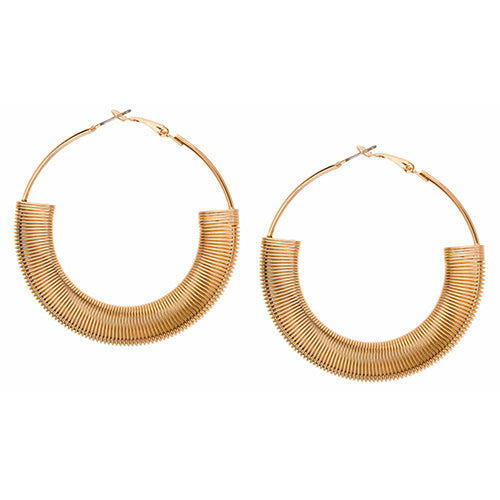 SHASHI, JEWELRY, SHASHI | Textured Hoop Earring YG - Edgar Martha's Vineyard