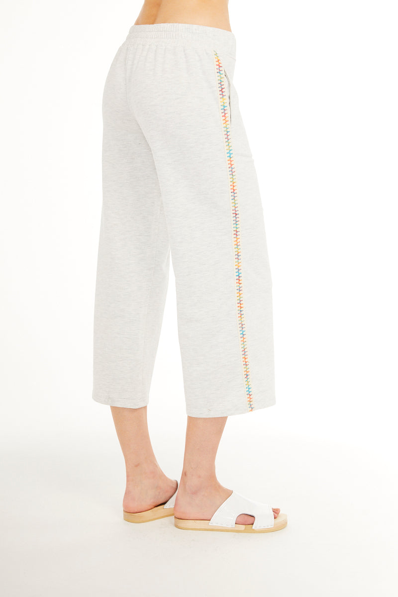 SUNDAYS NYC, BOTTOMS, SUNDAYS NYC| Mulberry Culotte Pant with Rainbow Trim - Edgar Martha's Vineyard