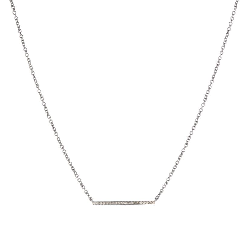 ASHLEY SCHENKEIN, JEWELRY, ASHLEY SCHENKEIN | Diamond Bar Offset 7 Diamond Necklace - Edgar Martha's Vineyard