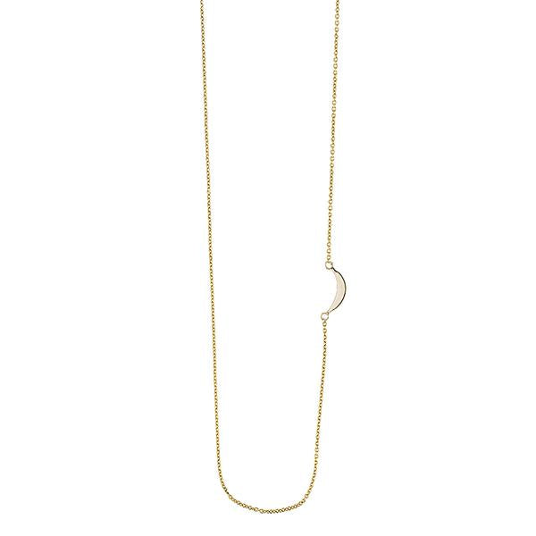ASHLEY SCHENKEIN, JEWELRY, ASHLEY SCHENKEIN| Solid Gold Asymmetrical Moon Necklace - Edgar Martha's Vineyard