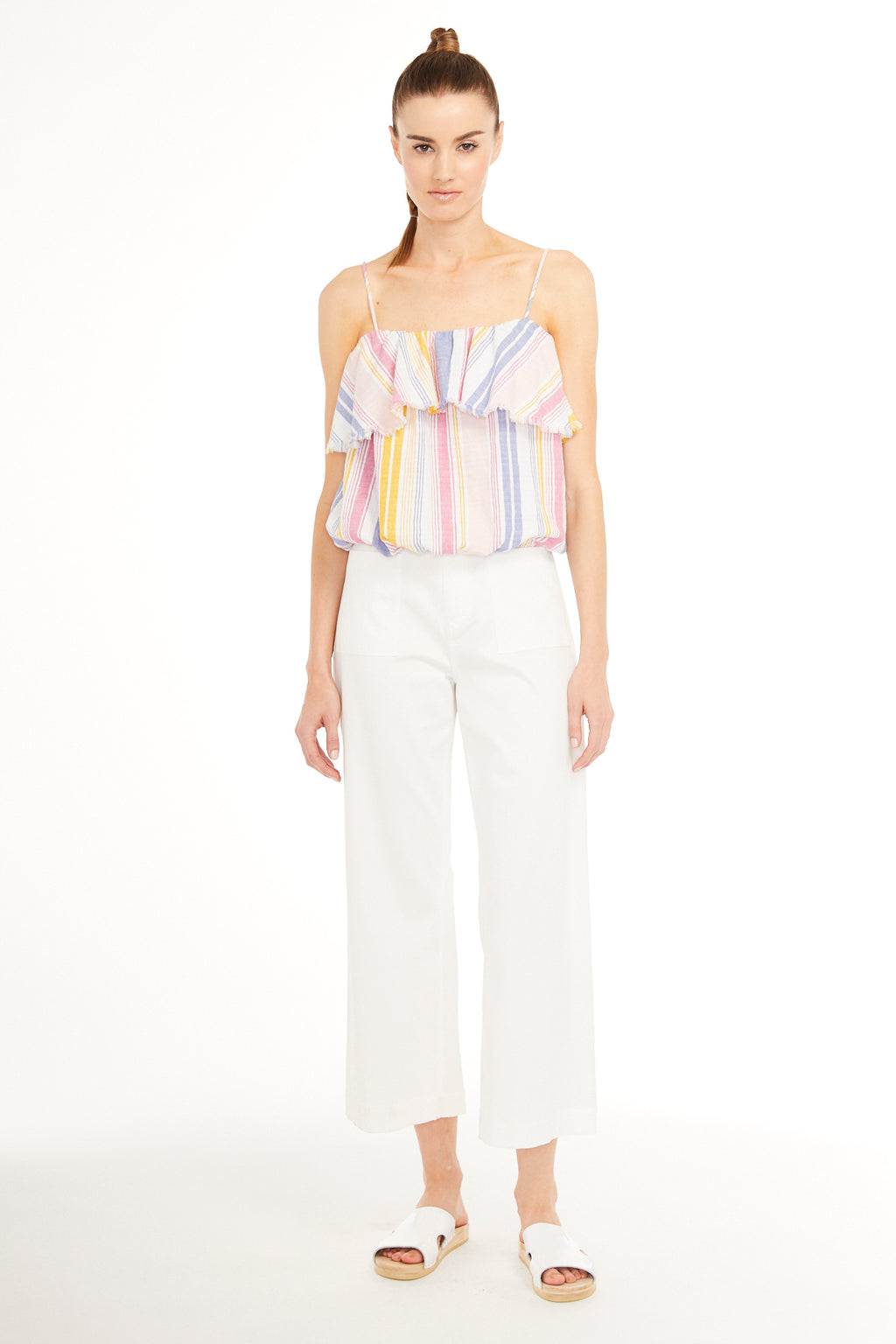 SUNDAYS NYC, TOP, SUNDAYS NYC| Peony Ruffle Tank Top with Elastic Hem - Edgar Martha's Vineyard