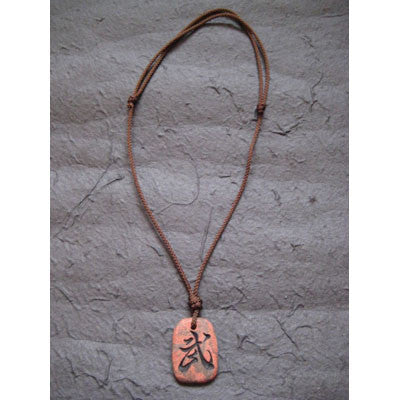 "Handcraft Kanji Pendant Necklace ""SPIRIT OF A WARRIOR"""