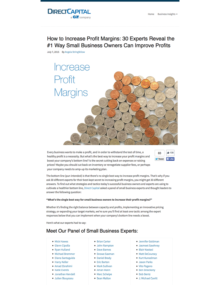 Direct Capital - Small Business Owners on How to Increase Profit Margin