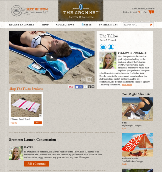 the grommet daily deal featuring unique products the tillow beach towel with pillow founder katie everds products with a purpose