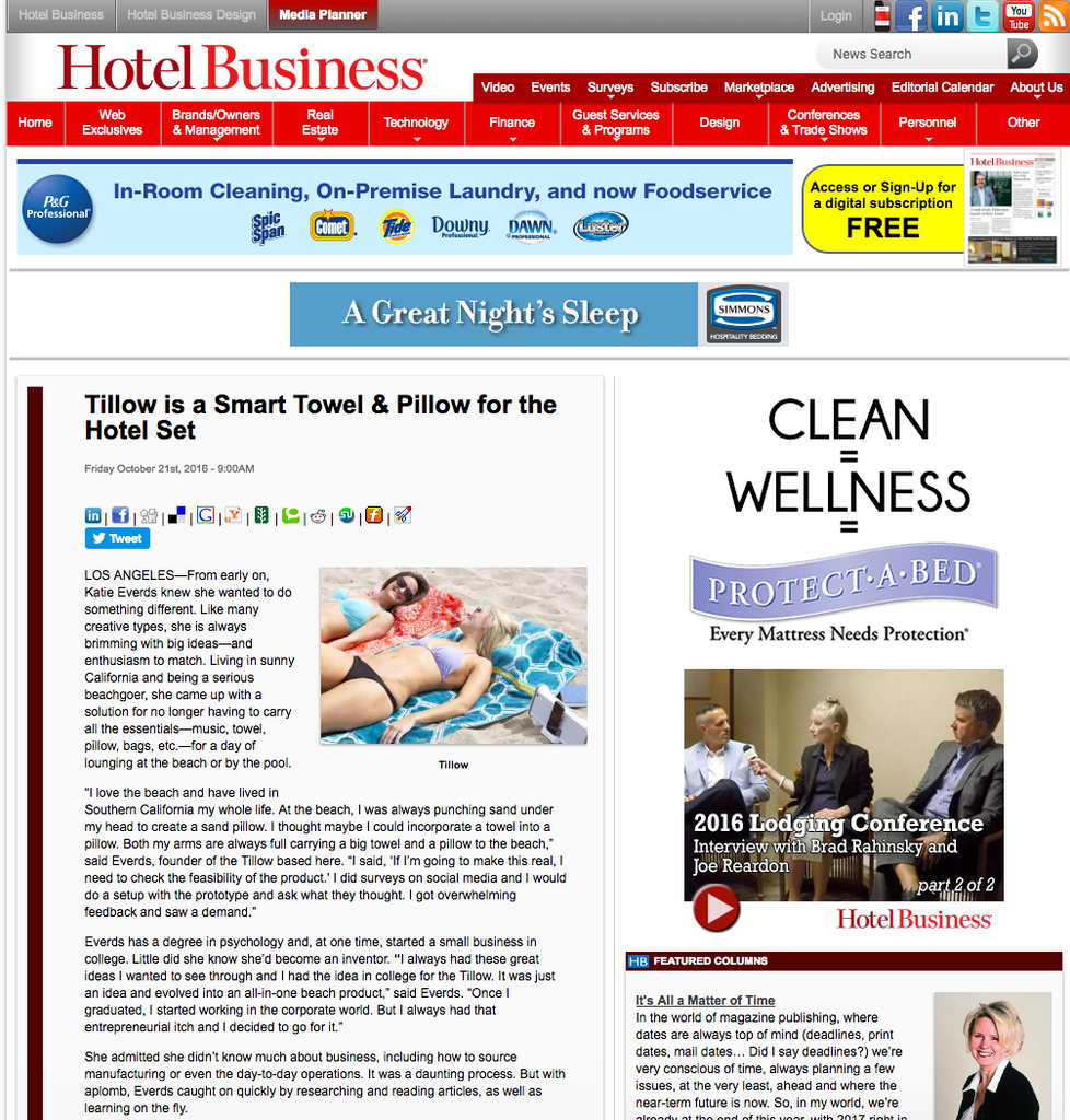 hotel business magazine article about the tillow, towel with pillow pockets and bag. smart towel for hotels tillow