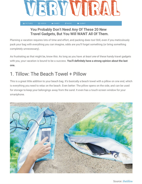 Very Viral You Probably Don't NEED Any of These 20 New Travel Gadgets, But You Will WANT All of Them featuring the tillow beach towel with pillow and pockets and bag