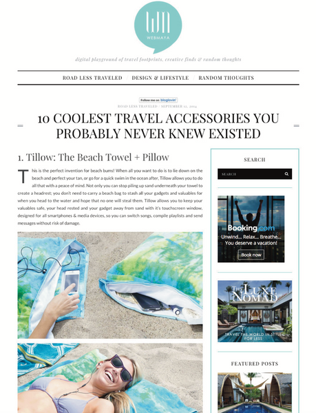Webmaya - 10 Coolest Travel Accessories You Probably Never Knew Existed featuring the tillow beach towel with pillow